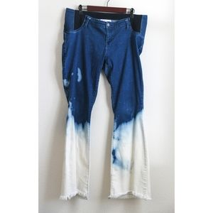 Boho Distressed Bleached Maternity Flares